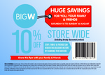 10% off Store Wide @ Big W