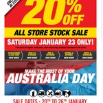 20% off All Stock - 23/01/16 Instore or Online @ SuperCheap Auto