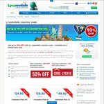 Lycamobile - 10% off for Plans Unlimited XS, S, XL (Existing Customers Only)