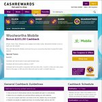 Cashback Increased to $101 (Was $80) with Woolworths Mobile @ Cashrewards