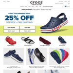 25% off Sitewide (Including Clearance, Some Exclusions) + Free Shipping @ Crocs