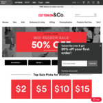 Cotton on 50% off Selected Items Mid Season Sale. Free Delivery on Orders over $55