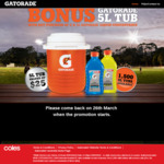 Claim a Free Gatorade Branded 5L Tub When You Purchase 2x 1L Bottles of Gatorade Liquid Concentrate at Coles