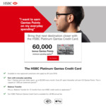 HSBC Platinum Qantas Credit Card - 60K FF Points off $3000 Spend, $199 Annual Fee