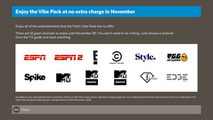 Free Vibe Pack with 12 Channels in November - Was $6 (Fetch TV Box