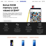 Bonus 512GB Memory Card (Valued at $349) with Purchase of Samsung Galaxy S9, S9+ or Note 9 from Samsung Retail or Online Store