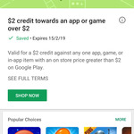 $2 Google Play Credit for Apps / Games