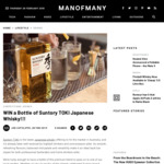 Win a Bottle of Suntory TOKI Whisky Worth $85 from Man of Many