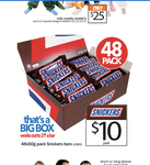 [SA, VIC, NSW] Box of 48 Snickers Bars 50g for $10 at Cheap as Chips