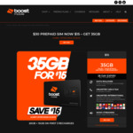 ½ Price 28-Day Prepaid SIM with 15GB Bonus Data for First 3 Recharges: 35GB for $15 Shipped @ Boost Mobile