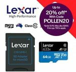 Lexar 633x MicroSD 64GB - 2 for $15.96 + Delivery ($0 w/eBay Plus) @ Apus eBay