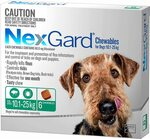 Nexgard, Flea & Tick Monthly Chew, Dog, 4.1-10kg 6pk $59.99, 10.1-25kg, 3pk/6pk $37.99/$62.99, 25.1-50kg 6pk $65.99 @ Amazon
