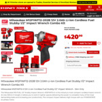 "Milwaukee M12 1/2"" Stubby Impact Wrench Kit $420 + Free Milwaukee 1/4inch Hex Screwdriver Skin @ Sydney Tools & Total Tools"