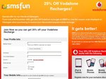 25% off Vodafone Prepaid Recharge from SMSFun