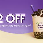 $2 off Premium Pearl Tea Range: Frost-Tea, Milky or Hot - Large $4.55, Regular $3.95 @ Chatime App