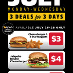 [QLD, NSW, SA, VIC] Daily July Deals $3-$5: Every Monday to Wednesday via MyCarl's App @ Carl's Jr
