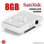 Mini Clip MP3 Player Silver - SanDisk 8GB Memory Card Included $7.95 + Delivery