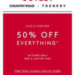 Country Road Outlet Further 50% off from Friday 16/10 - Sunday 25/10 (VIC/NSW/QLD)