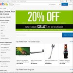 eBay 20% off with Click & Collect @ The Good Guys, Bing Lee, Masters, Rays Outdoors, BCF, Tarocash & Cincotta Chemist