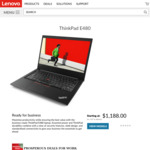 "ThinkPad E480 / 14"" FHD IPS / 8th Gen i7-8550U / 256GB SSD / 8GB RAM / AMD RX550 GPU / $1188 @ Lenovo"
