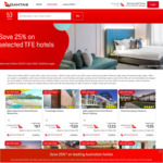 Qantas Accommodation - Save 25% on Selected TFE Hotels