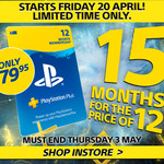 PlayStation Plus - 15 Months for The Price of 12 - $79.95 @ EB Games (Instore Only) & JB Hi-Fi (Digitally Delivered)