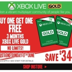 Xbox Live Gold - Buy 3 Months ($34) Get 3 Months Free - No Limits - EB Games