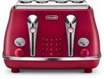 DeLonghi Icona Elements 4 Slice Toaster Red $54.99, DeLonghi Distinta Digital Kettle White $54.99 Delivered @ Amazon AU