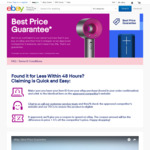 Best Price Guarantee by eBay (Price Beat by 5% Plus Difference) with 48 Hour Claim Time for Certain Items
