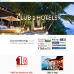 Free Club 1 Hotels Membership Plus 10% off Your First Hotel Booking
