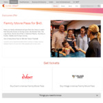 Event or Village Cinemas Family Movie Pass $40 via Telstra Thanks