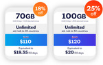 Lebara Mobile 180 Days Prepaid Plan Recharge Voucher 70GB $93.6, 100GB Data $108 Delivered @ Bring Brightness eBay
