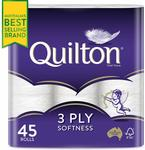 Quilton 3 Ply Toilet Tissue 45 Pack - $20 + Delivery ($0 with Prime/ $39 Spend) @ Amazon AU