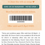 Free $5 to Spend on Selected Items (from $10) @ San Churro