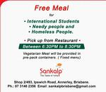 [QLD] Free Meal for International Students/Needy/Homeless @ Sankalp Indian Restaurant - Annerley