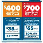 $400 Harvey Norman Gift Card on $35 p/m Data Plan for 30GB Data - New Service for 24mth Contract Optus Plan @ Harvey Norman