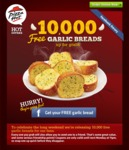 Pizza Hut Free Garlic Bread with Online Order [10,000 to Giveaway]