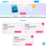 Lebara Mobile Prepaid Recharge: 180-Day - Small (10GB/Month) $100, Medium (20GB) $115, Large (30GB) $135 | 360-Day - Medium $220