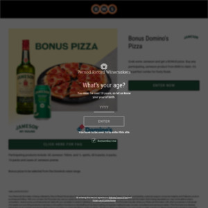 Redeem a Free Domino's Value Pizza With Purchase a Jameson Product From BWS (Receipt Required) @ Winning Drinks
