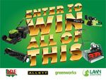 Win an Allett Liberty 43 Battery Cylinder Mowe, Greenwork 40V Brushless Chainsaw, 3-in-1 Lawnmower + More from Lawn Solutions
