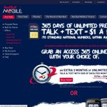 Red Bull Mobile Unlimited Talk & Text + 5GB Data P/M - 12mths Access $365 + Free 3mth/$1 HTC
