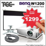 BenQ W1200 Projector Package - Projector, Screen, Mount and Cable Included $1299
