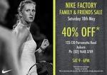 Nike Factory Store Sale - 40% off Storewide - Auburn NSW - Sat 18/5