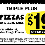 Domino's - Any 3 Pizzas + Garlic Bread + 1.25lt Coke $19.95 Pick up until 22/4