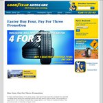 Goodyear Autocare. Tyres: Buy 4, Pay 3 Promotion. Includes Eagle F1 Line