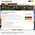 5% off WISH (Woolworths, Big W, Woolworths Petrol etc) eGift Cards through Cashrewards