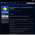 PlayStation Plus 1 Year Subscription - 25% off $52.46 (New and Lapsed Subscribers)