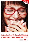 30% off Lens Extras* Exclusively for Health Fund Members @ OPSM