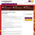 Woolworths WISH eGift Cards 5.25% off @ Cashrewards