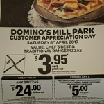 Domino's Mill Park (VIC) - Customer Appreciation Day - Value, Chef's Best & Traditional Range Pizzas - $3.95 Ea Pickup